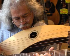 Stephen Bennett and his harp guitar.